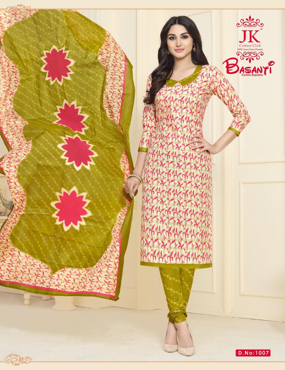 Jk Cotton Basanti Vol 1 Designer Pure Cotton Suits Wholesale