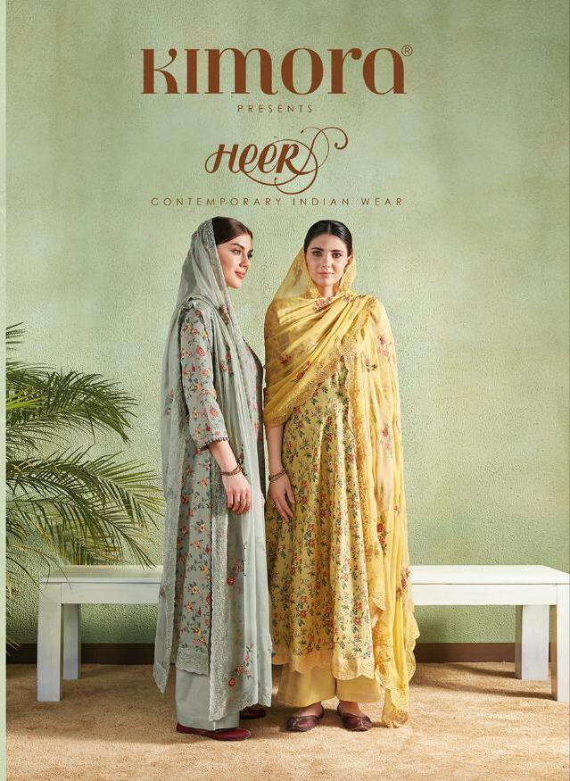 Kimora Heer Cotton Satin Digital Print Suits Wholesale