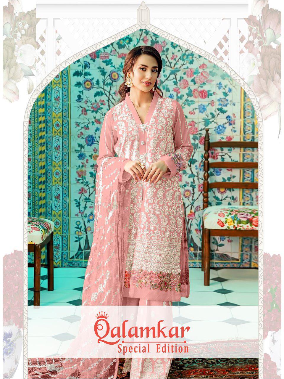 Qalamkar Special Addition Heavy Net Soft Work Suit Wholesale