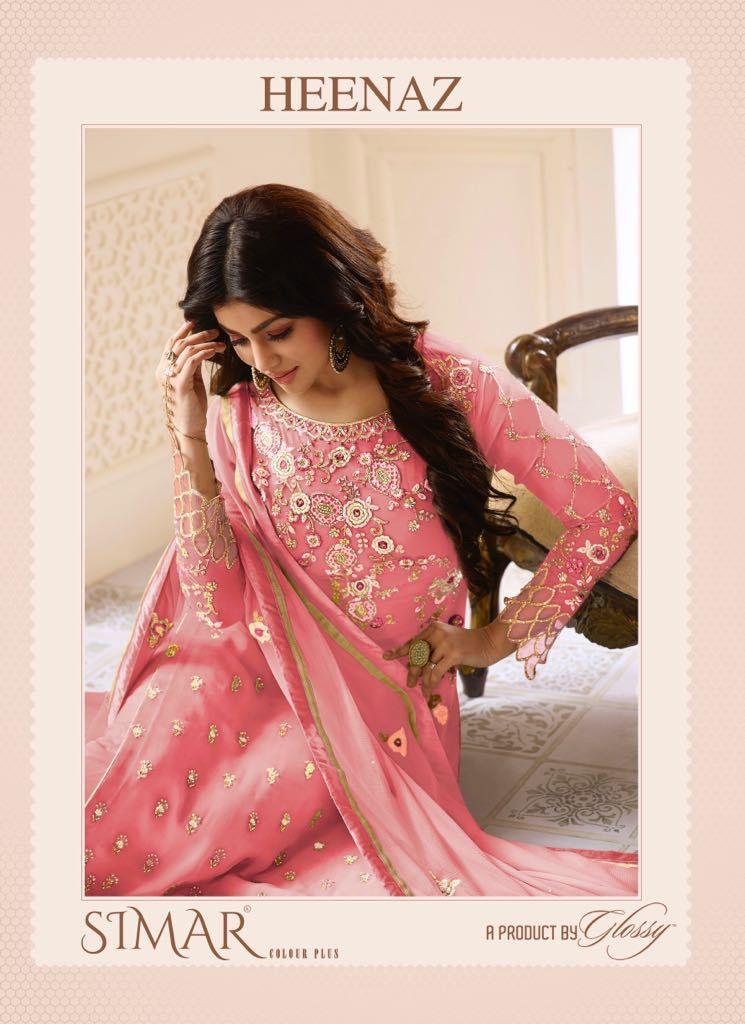Glossy Heenaz Simar Colour Plus Designer  Suits Wholesale