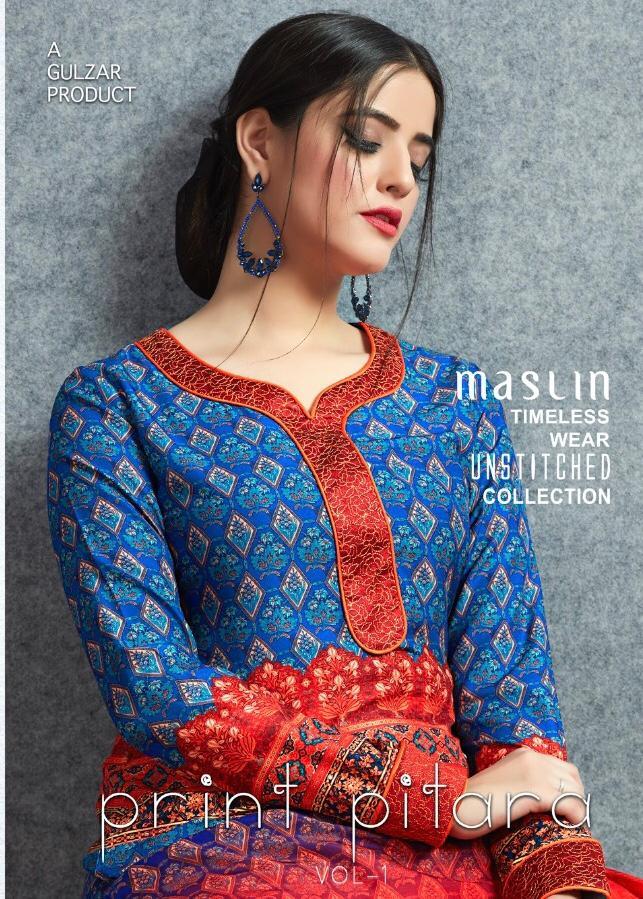 Gulzar Print Pitara Designer Cotton Muslin Suit Wholesale