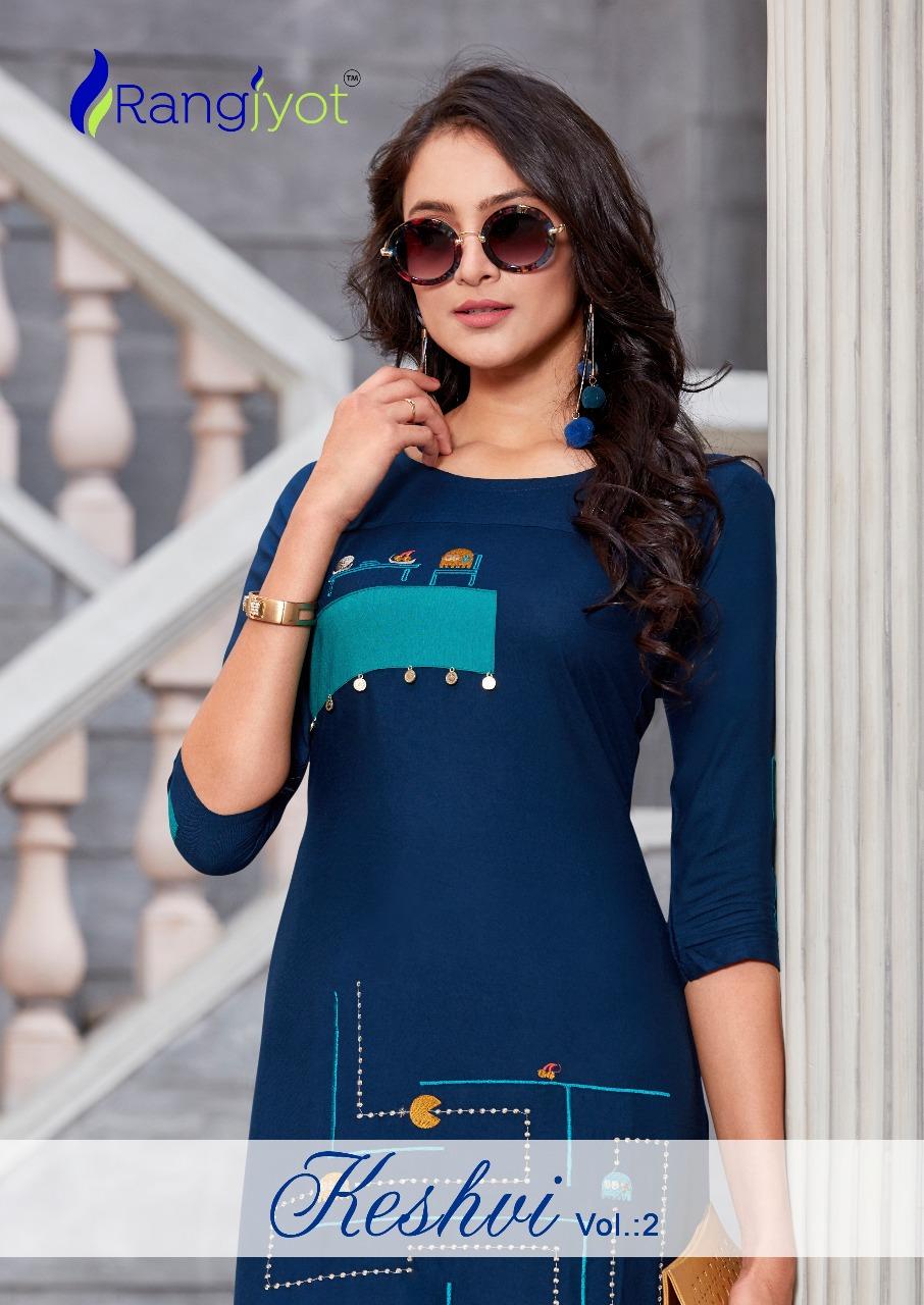 Rangjyot Keshvi Vol 2 Designer Rayon Kurtis Wholesale