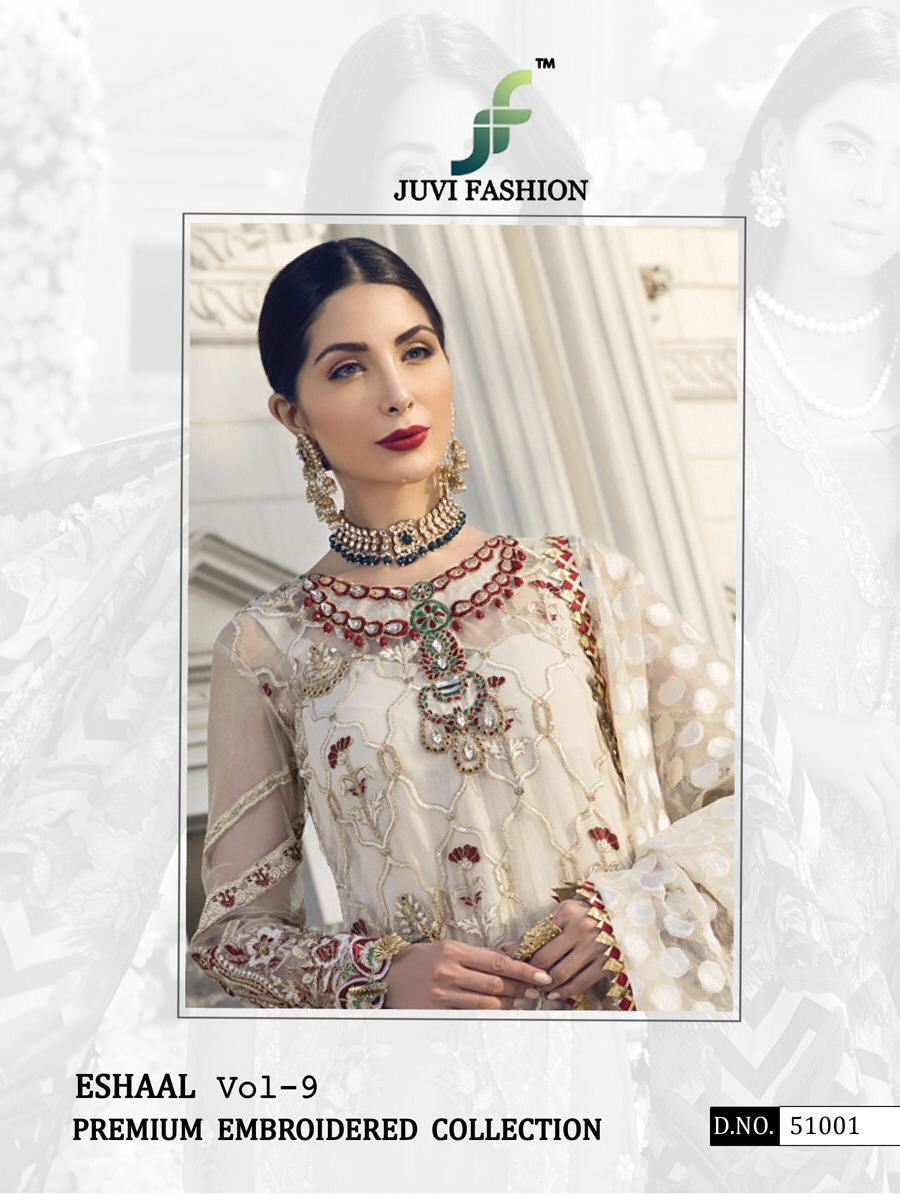 Juvi Fashion Eshaal Vol 9 Designer Net Heavy Suits Wholesal.