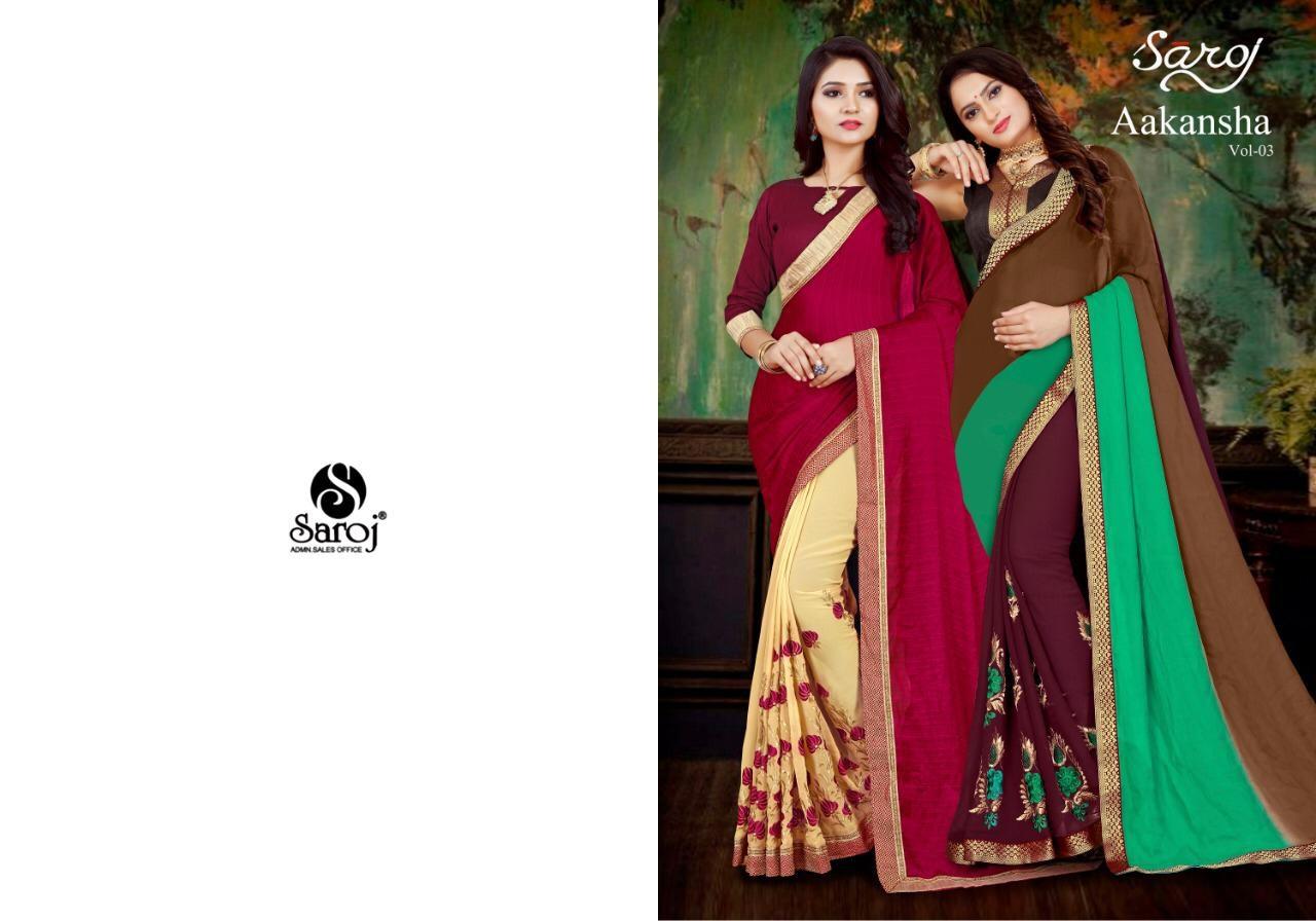 Saroj Akansha Vol 3 Georgette Emb Work Saree Wholesale