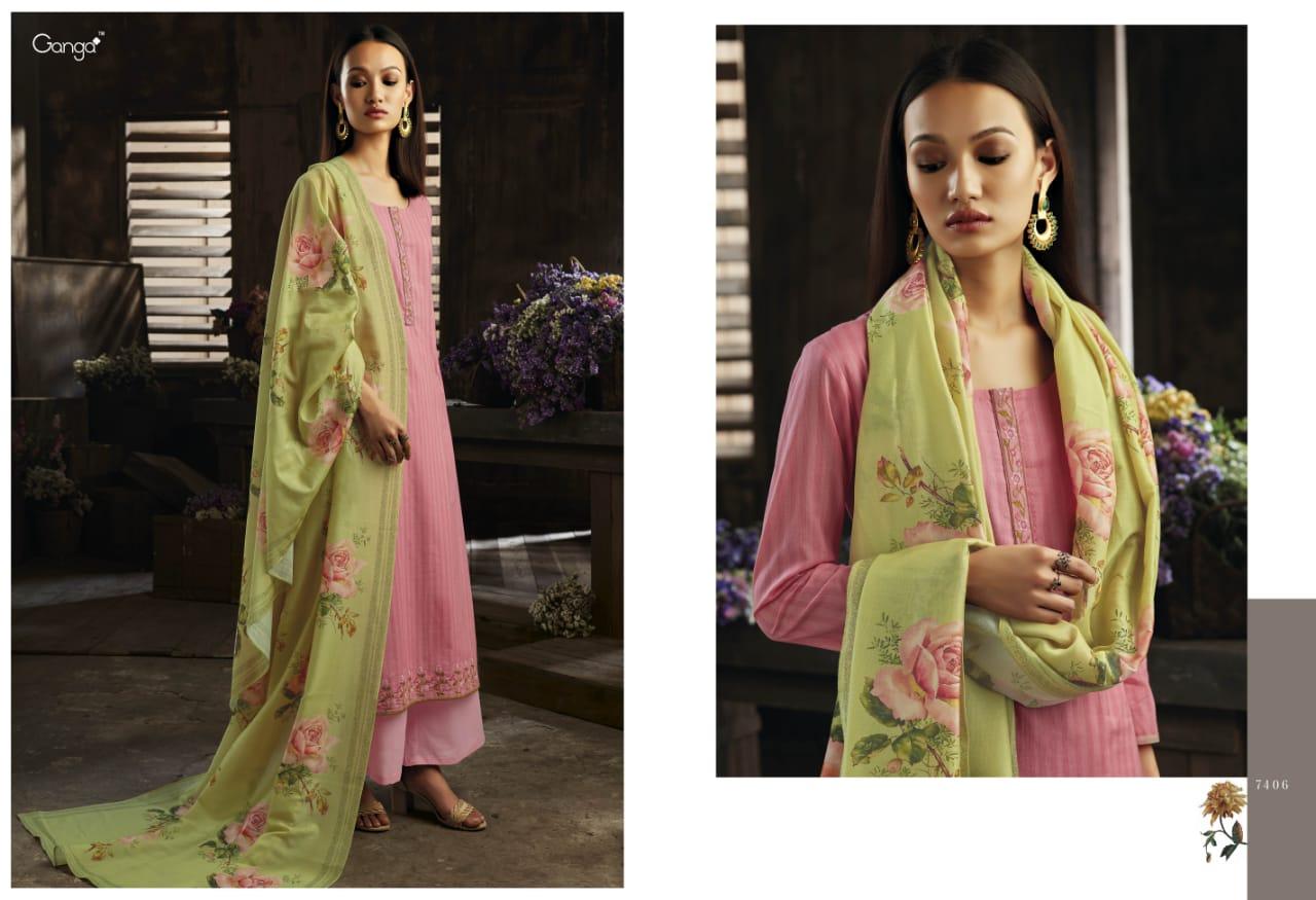 Ganga Invite The Light Designer Cotton Printe Suit Wholesale