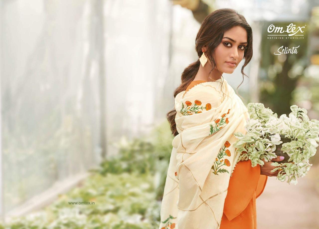 Omtex Selinta Designer Cotton Satin Suits Wholesale
