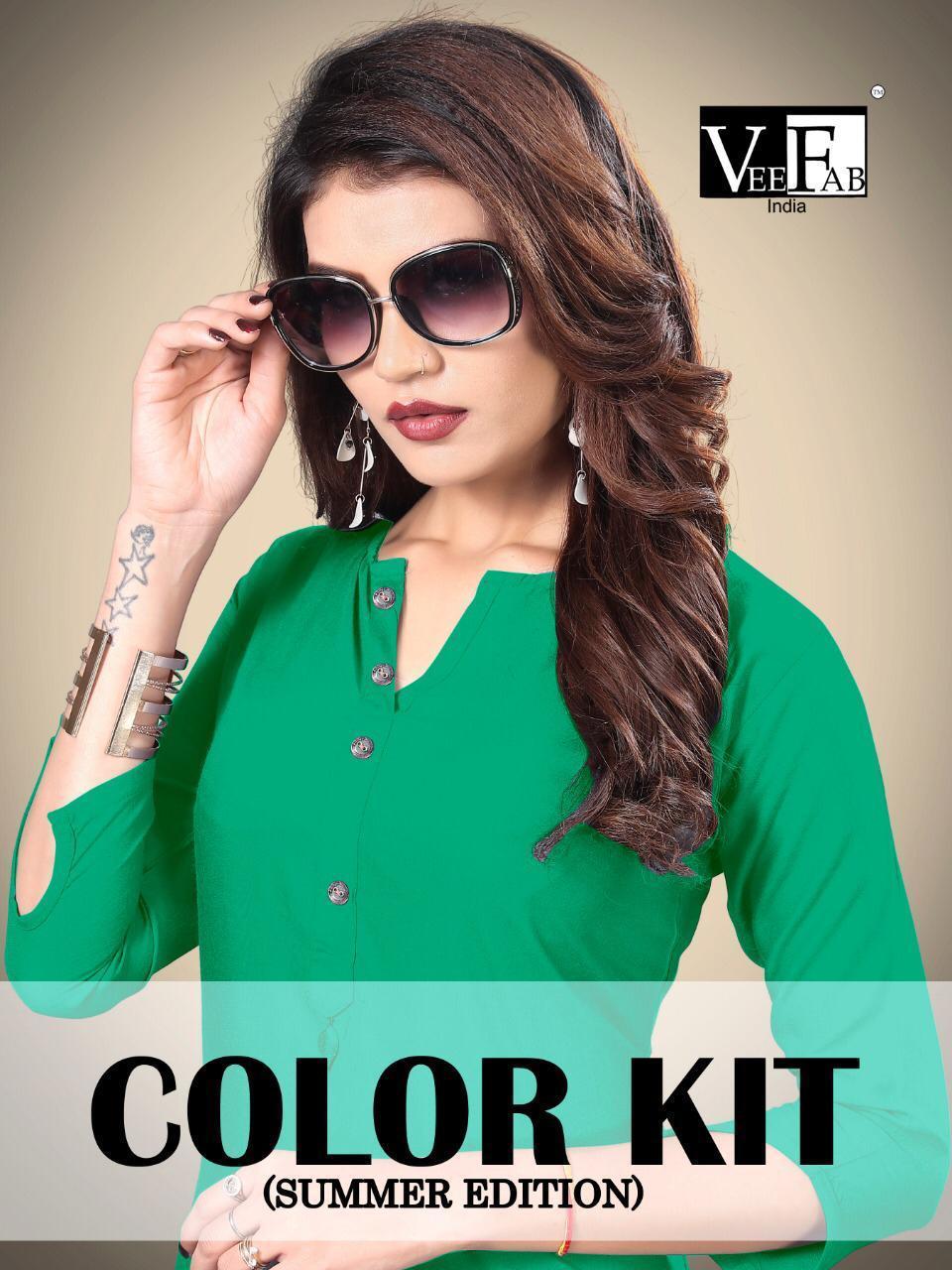 Vf India Color Kit Designer Rayon Kurti Plazzo Wholesale