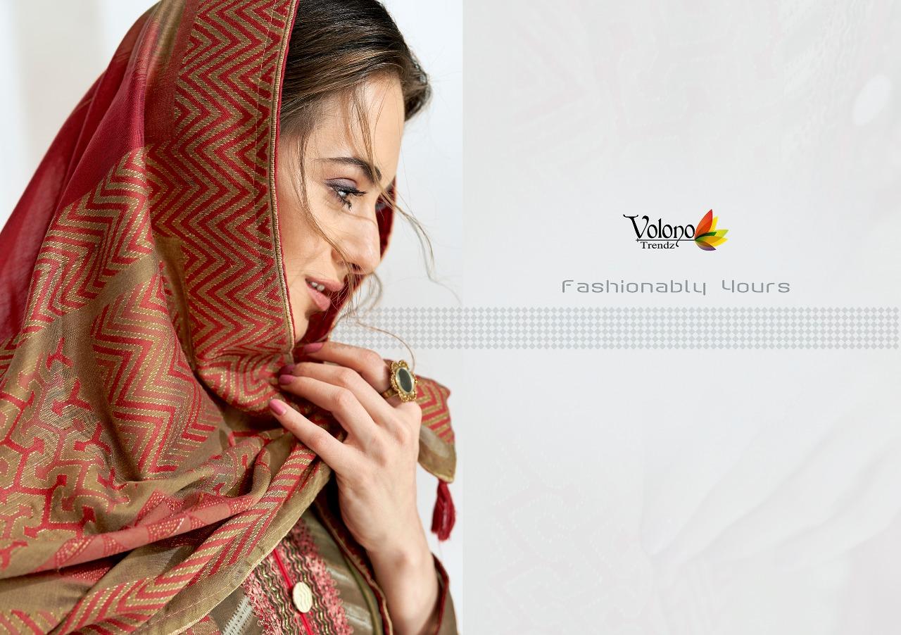 Volvono Elan Vol 1 Designer Cotton Self Emb Suits Wholesale