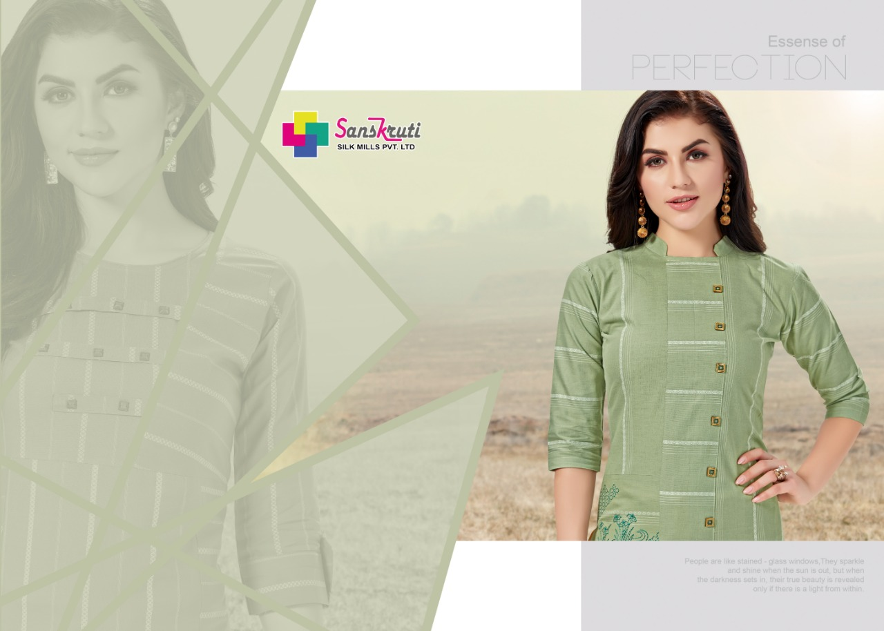 Sanskruti Silk Jennifer Designer  Cotton Kurti Wholesale