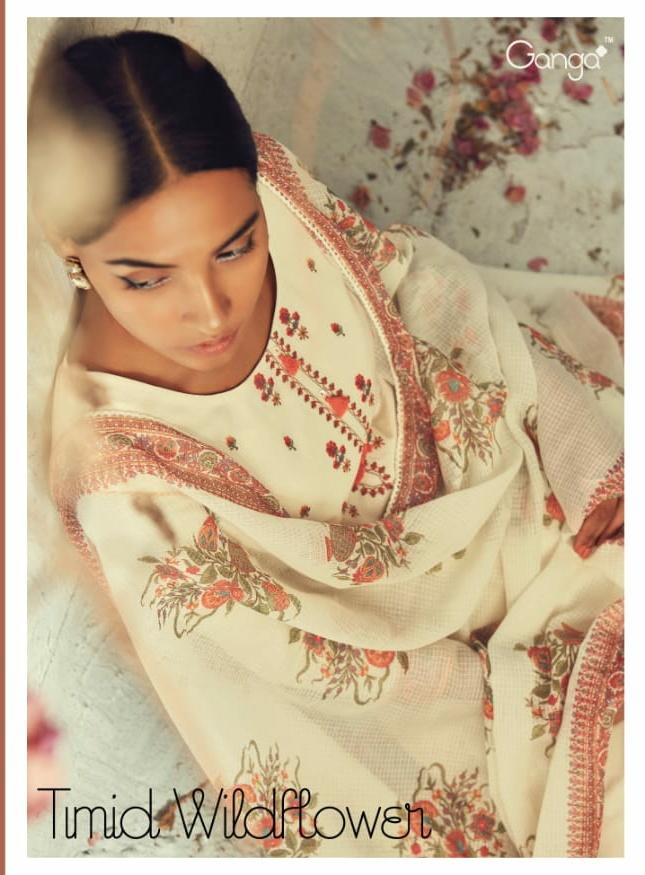 Ganga Timid Wildflower Designer Cotton Suits Wholesale