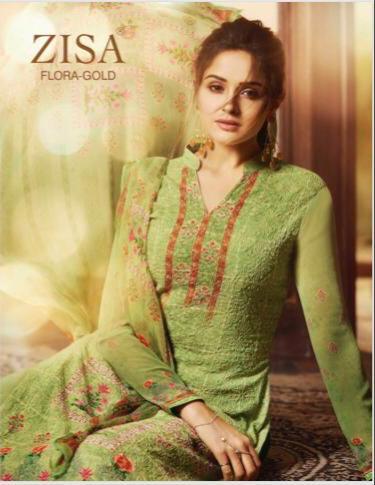 Meera Zisa Gold Designer Aari Work Suits Wholesale
