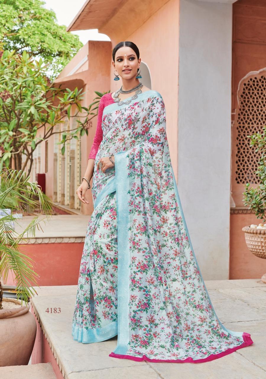 Lt Saree Saffron 2 Designer Soft Linen Printed Sarees Wholesale