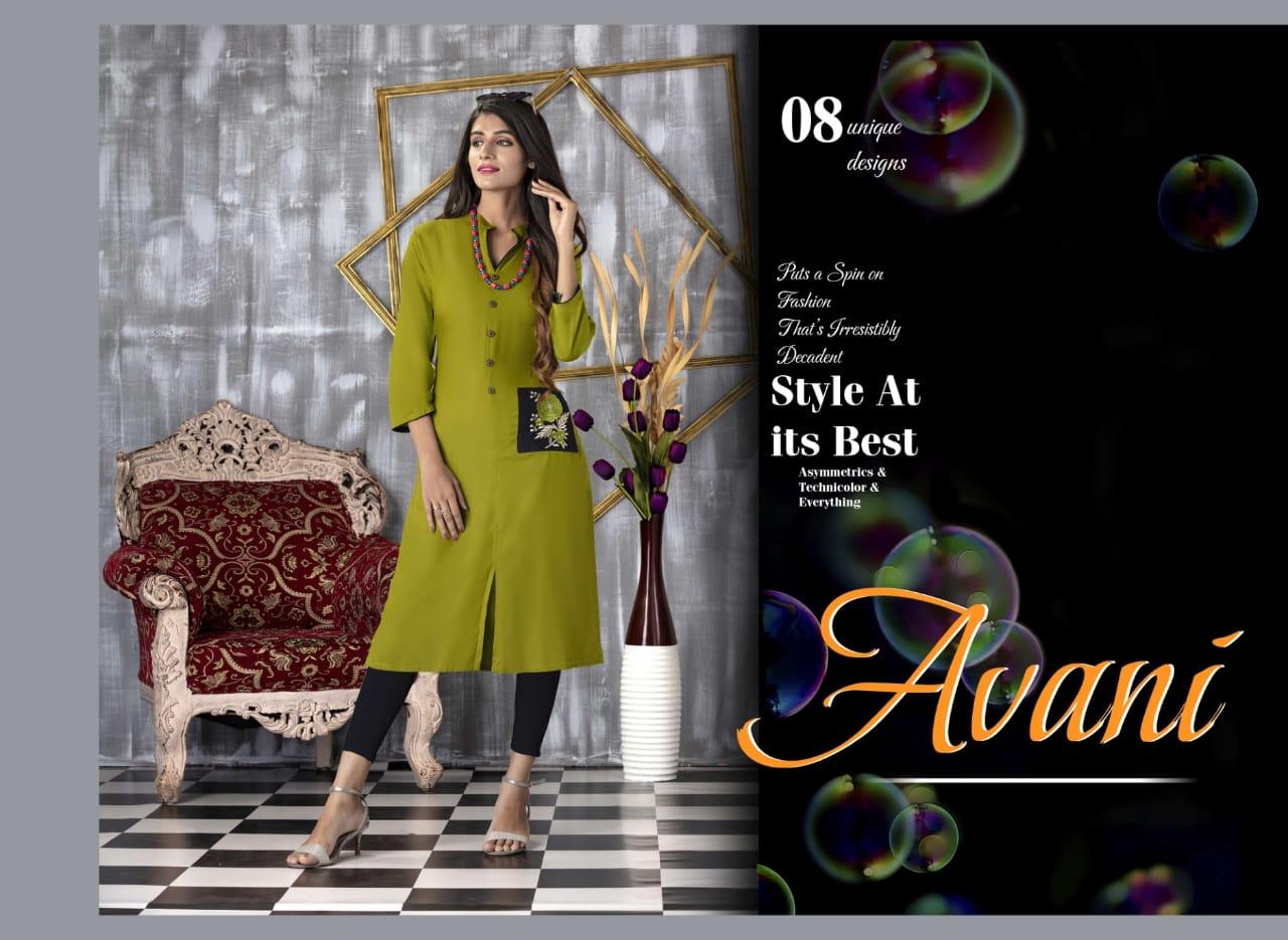 Trendy Avani Designer Office Wear & Daily Wear Kurties Wholesale