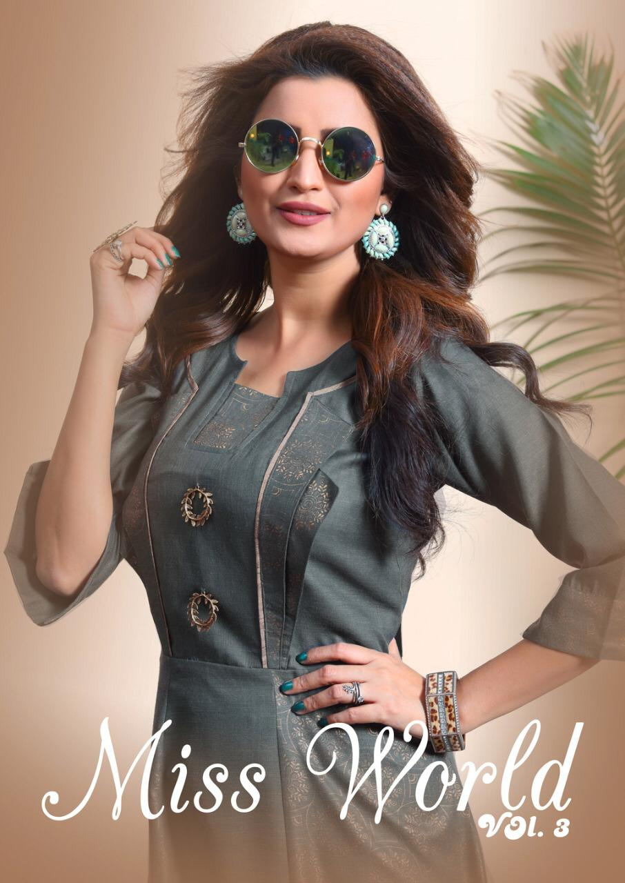 Ladies Flavour Miss World Vol 3 Designer Party Wear Kurties Wholesale