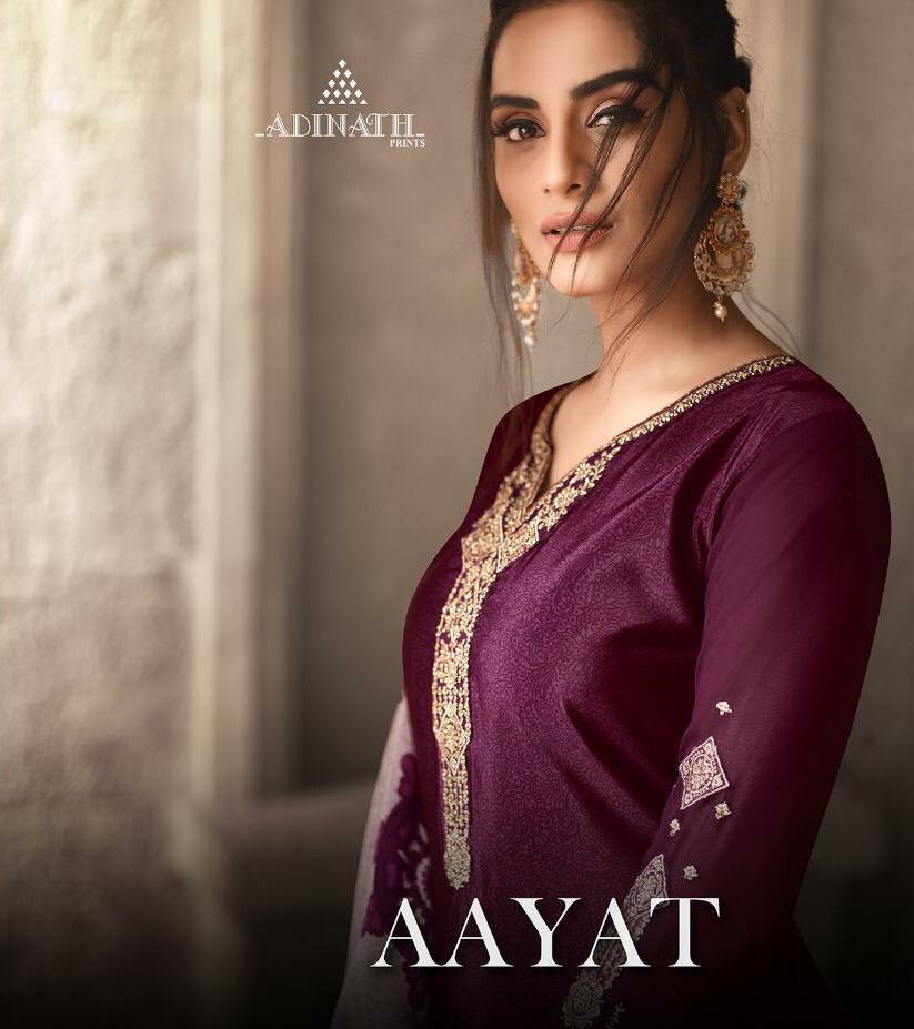 Adinath Prints Aayat Designer Silk Print & Embroidery Work Suits Wholesale Surat