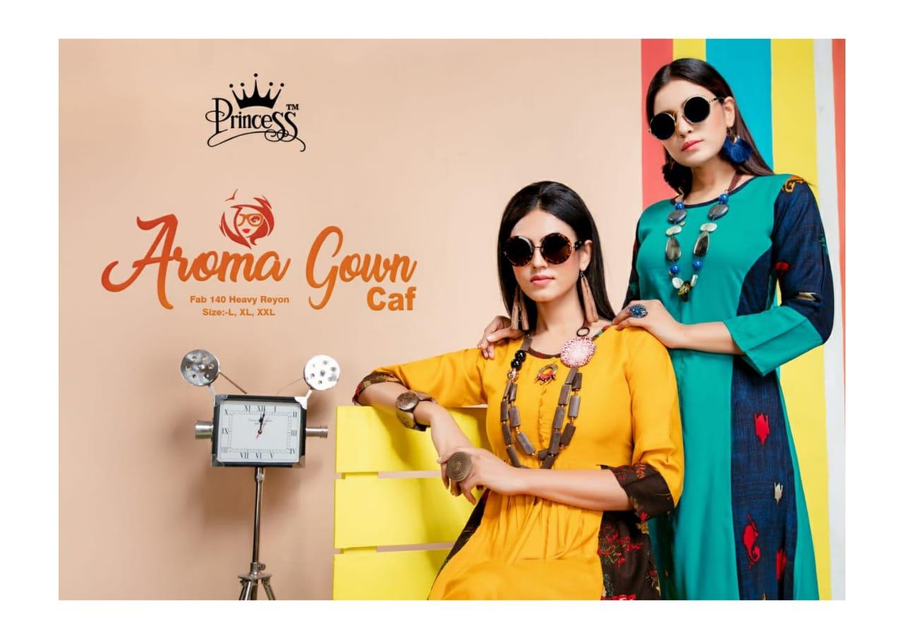 Princess Aroma Gown Caf Designer Western Kurties Wholesale