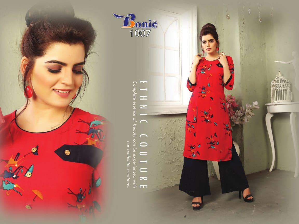 Bonie Trendy Satarangi Designer Heavy Rayon Print Kurti With Chiken Plazzo Wholesale