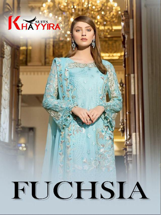Khayyira Suits Fuchsia Designer Heavy Embroidered Suits Wholesale