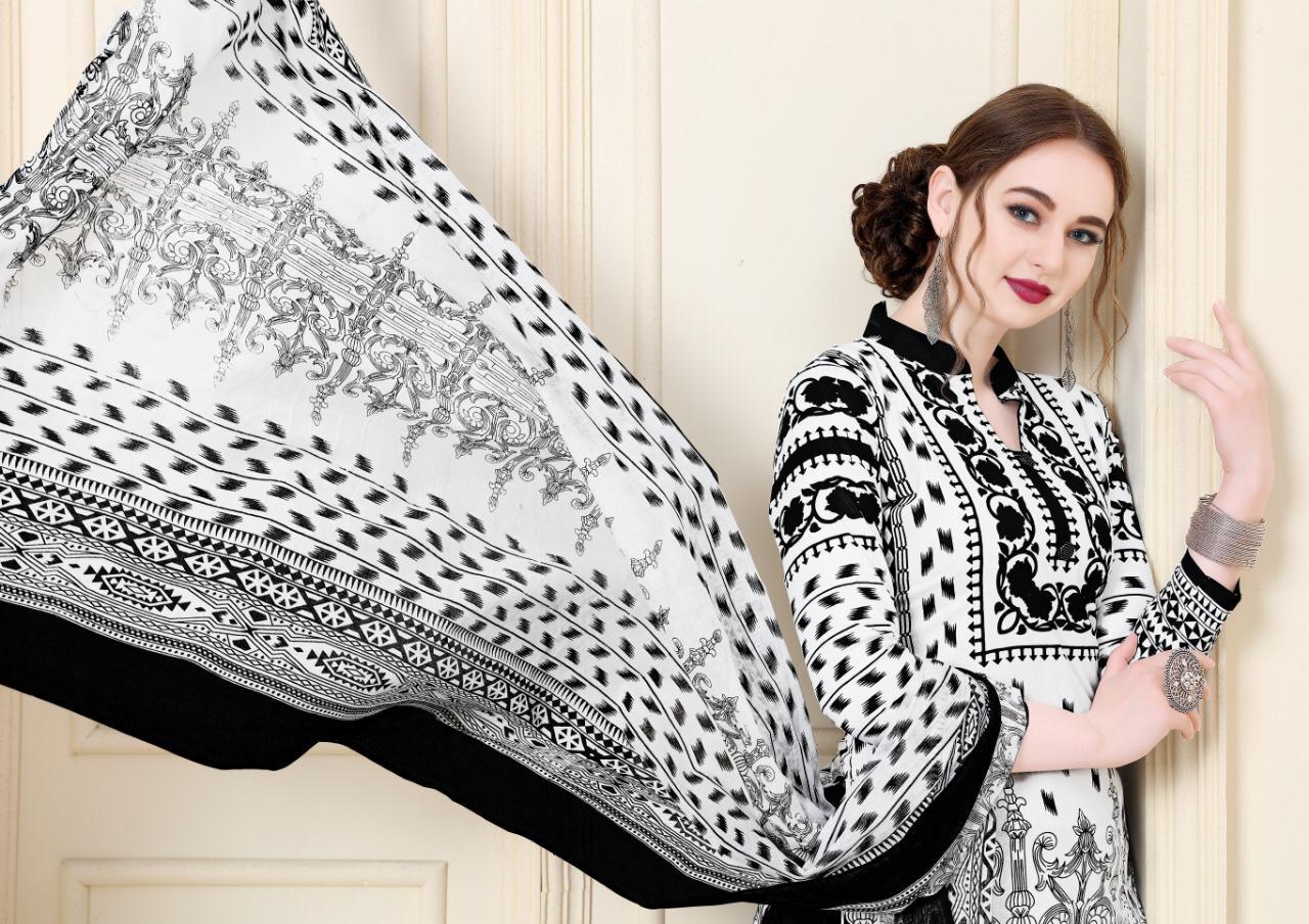 Mishri Creation Black & White Designer Karachi Cotton Suits Best Wholesale Rate