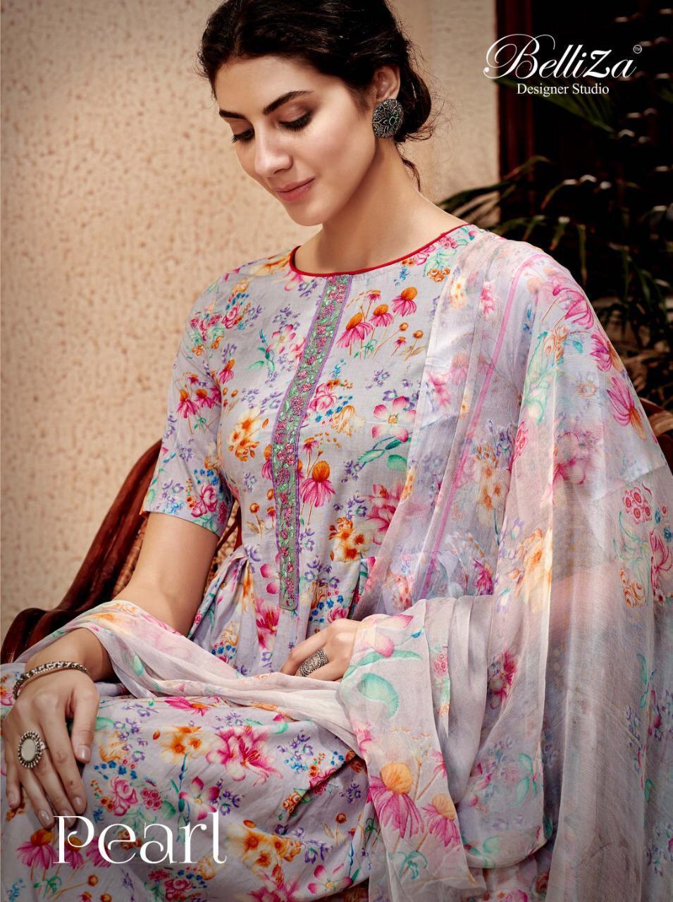 Belliza Pearls Designer Cotton Digital Print & Embroidery Suits Wholesale