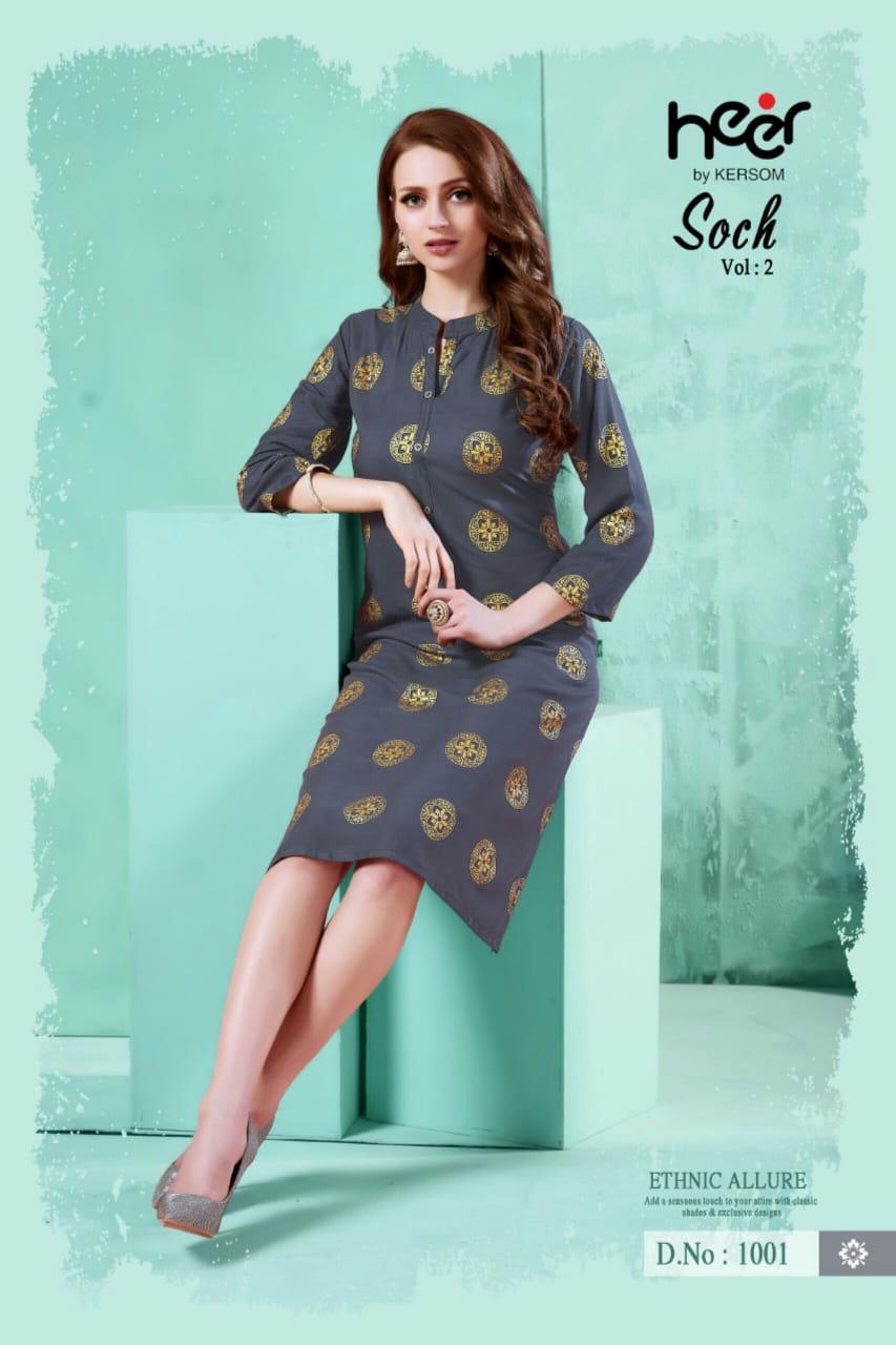Heer Soch Vol 2 Designer Heavy Rayon Stitch Kurties Wholesale Surat
