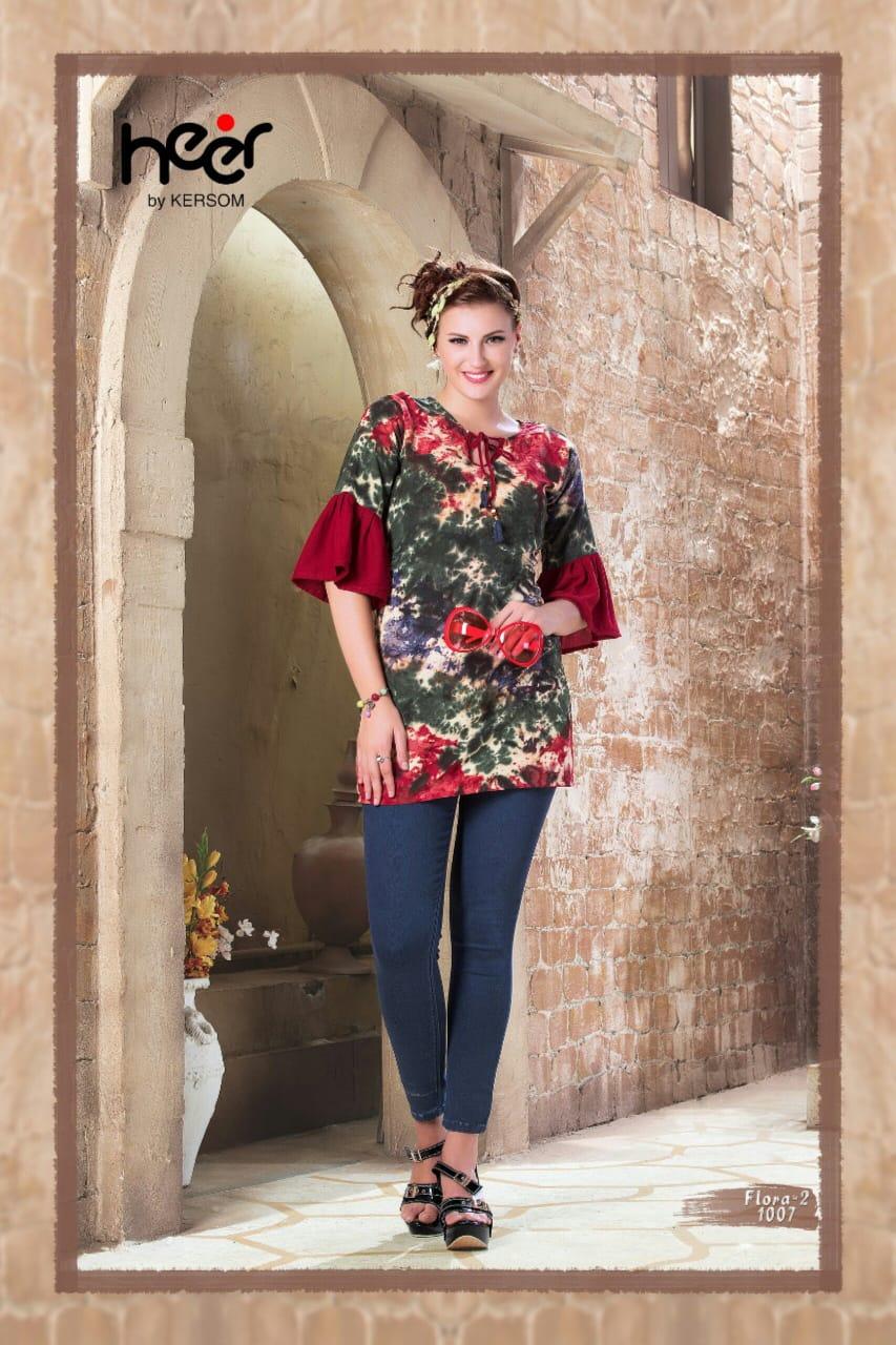 Heer Flora Vol 2 Designer Heavy Rayon Stitch Kurties Wholesale
