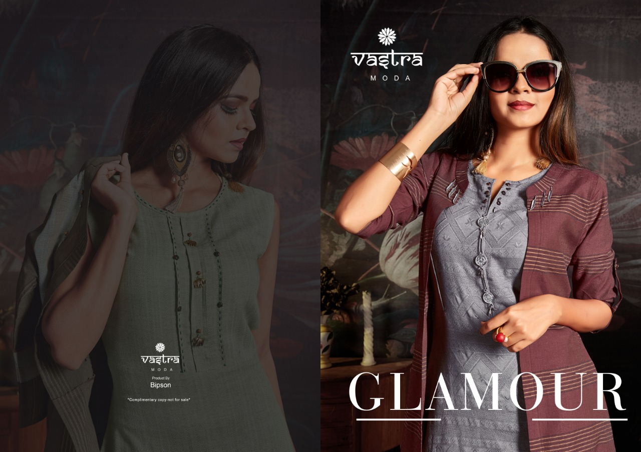 Vastra Moda Glamour Vol 1 Designer Kurti With Premium Cotton Jacket In Wholesale Rate