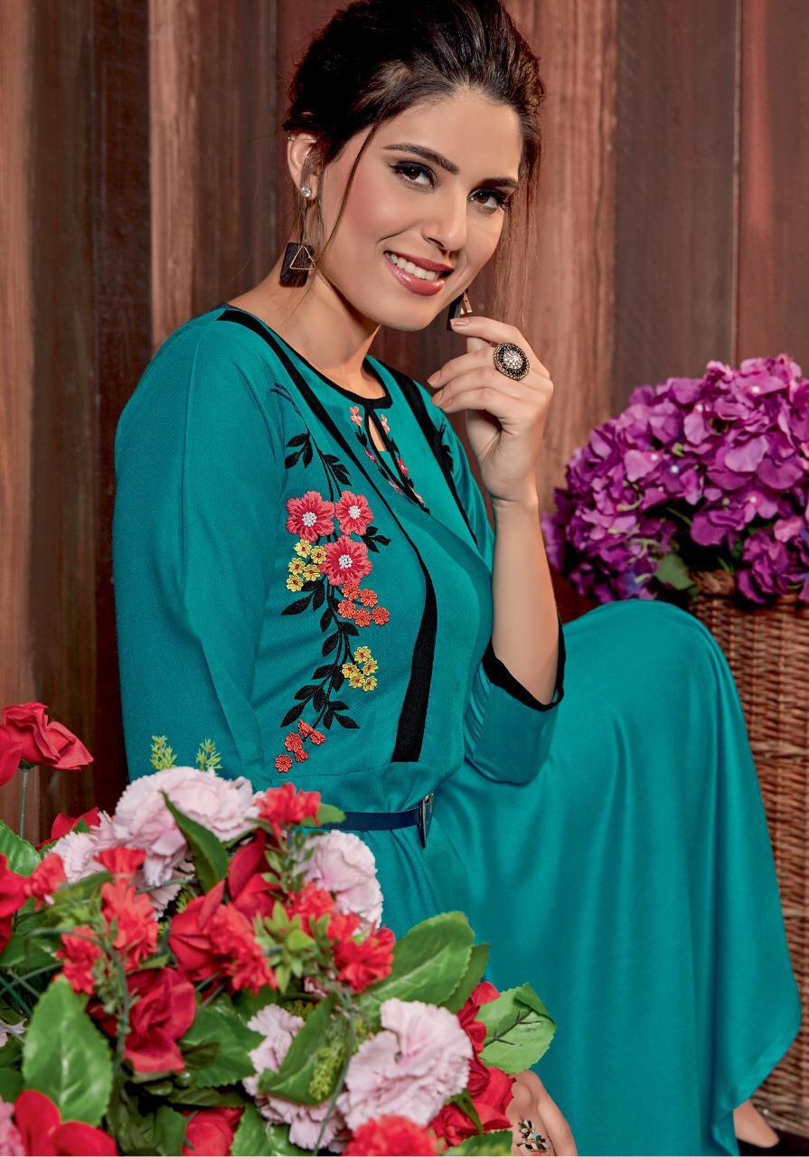 Parra Studio Rabeya Designer Rayon Gown Style Kurties Best Wholesale Rate