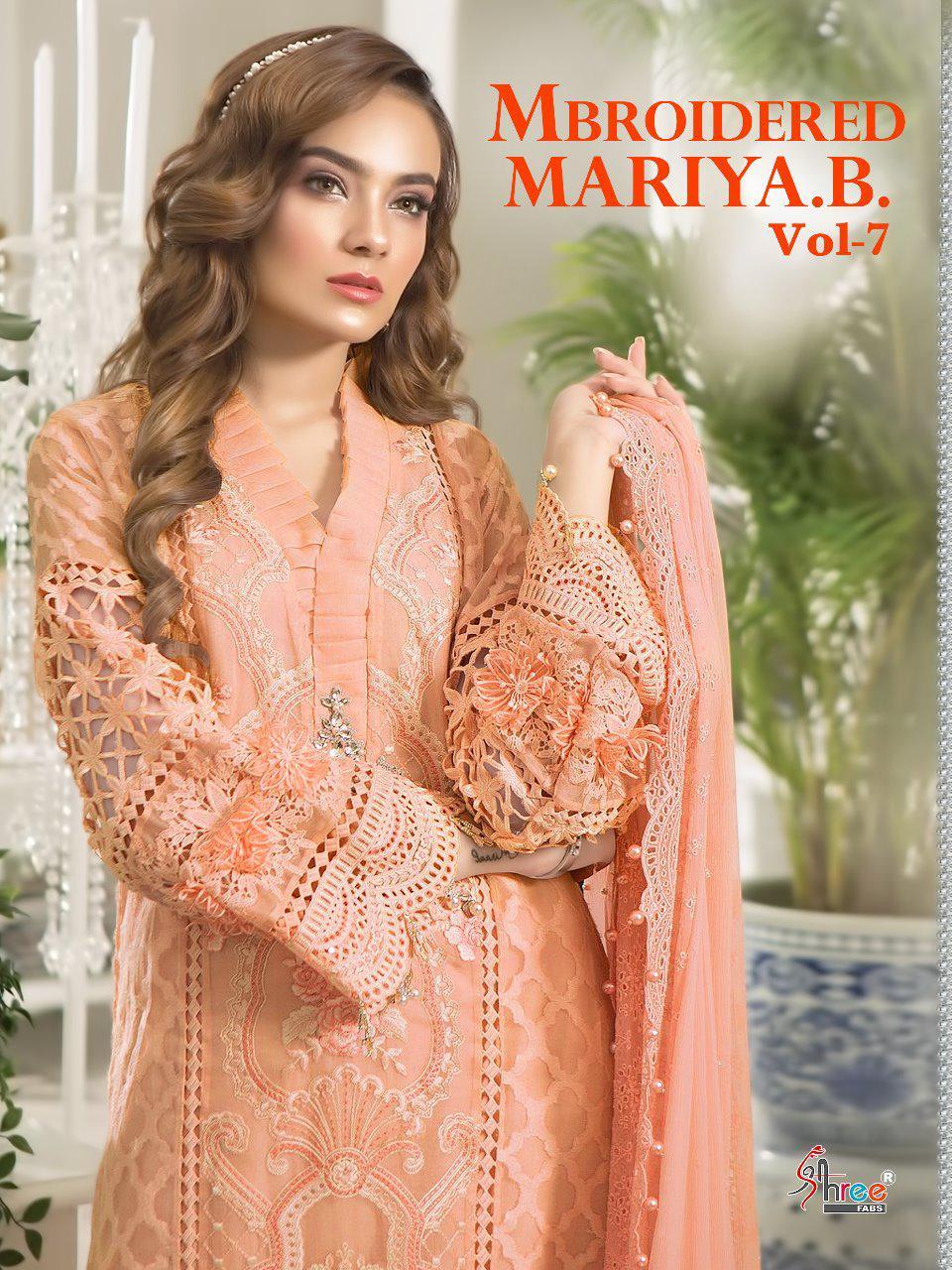 Shree Fab Mariya B Vol 7 8100 Series Designer Organza Embroidered Suits Wholesale