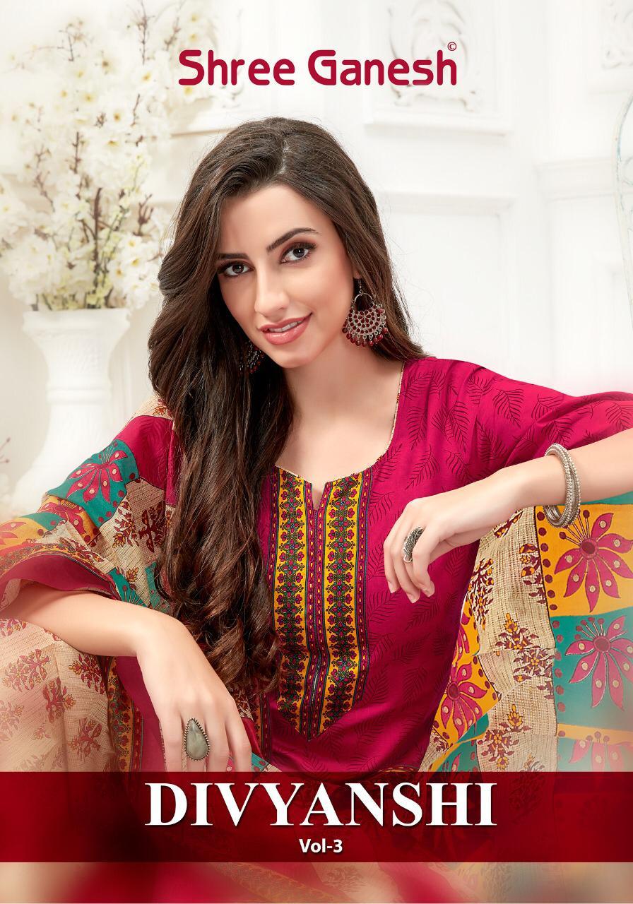 Shree Ganesh Divyanshi Vol 3 Designer Daily Wear Cotton Suits Wholesale