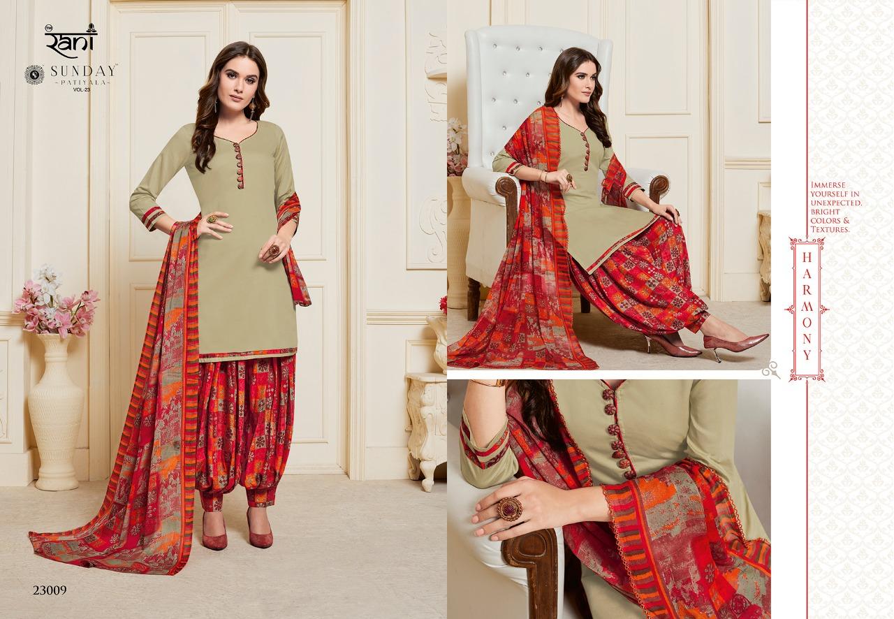 Rani Group Sunday Patiyala Vol 23 Designer Heavy Glace Cotton Suit Wholesale