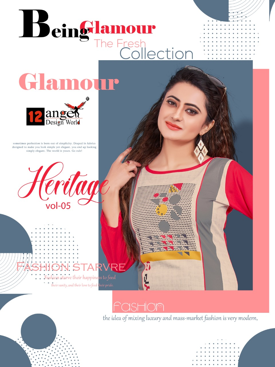 12 Angel Heritage Vol 5 Designer Rayon Stitch Kurti & Plazzo Wholesale