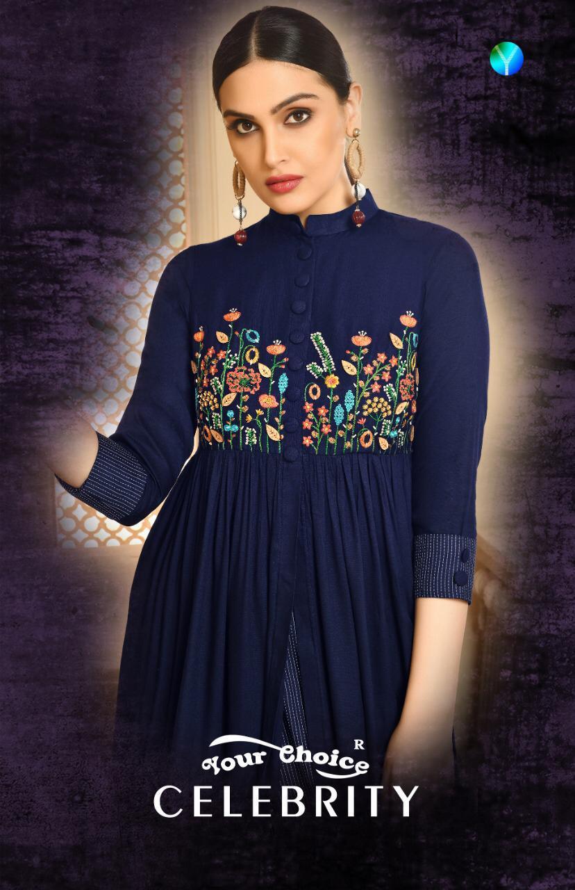 Your Choice Celebrity Designer Uniq Embroidery Work & Rayon Stitch Kurties Wholesale