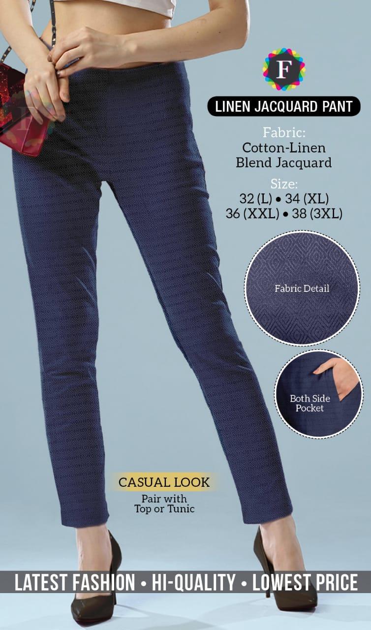 Linen Jaquard Pant Designer Cotton Lined Pant Wholesale