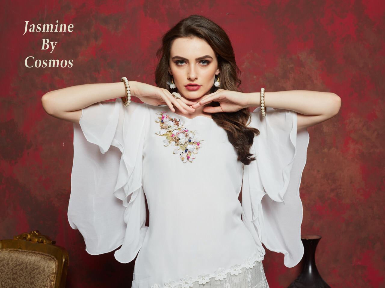 Cosmos Jasmine Designer Faux Georgette & Embroidered Kurties Wholesale