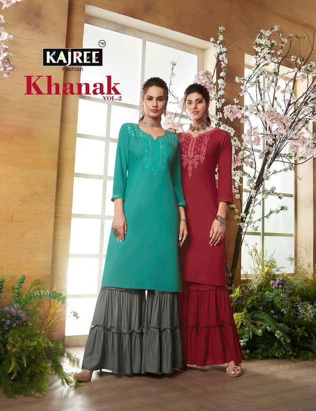 Kajree Khanak Vol 2 Designer Embroidery Work & Rayon Stitch Kurti Wholesale