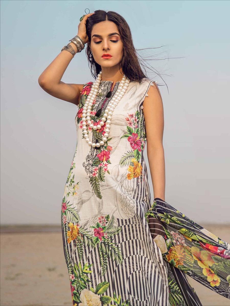 Juvi Fashion Sana Safinaz Designer Cotton Digital Print & Heavy Embroidered Suits Wholesale
