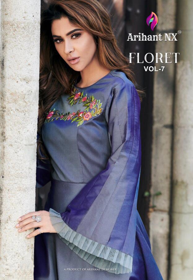 Arihant Nx Floret Vol 7 Designer Soft Tapeta Silk Kurti Gown Wholesale