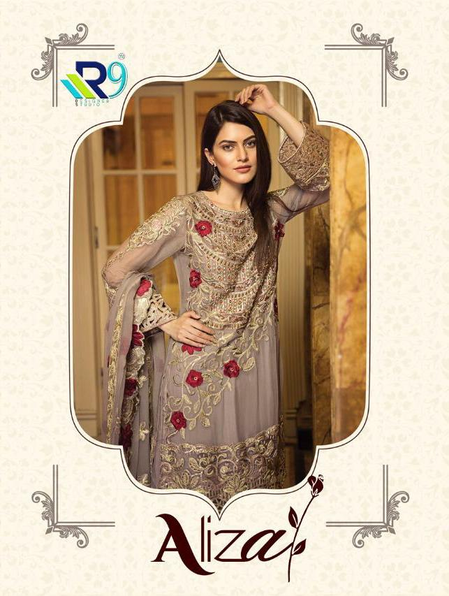 R9 Aliza Designer Faux Georgette With Embroidered Party Wear Suits Wholesale