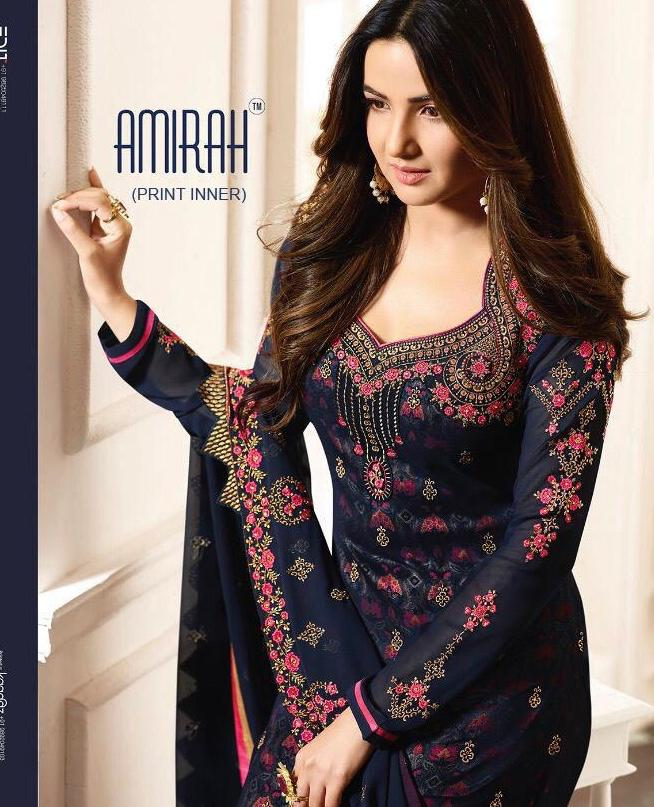 Amirah Inner Prints 11071 Series Designer Heavy Embroidered Party Wear Suits Wholesale Surat