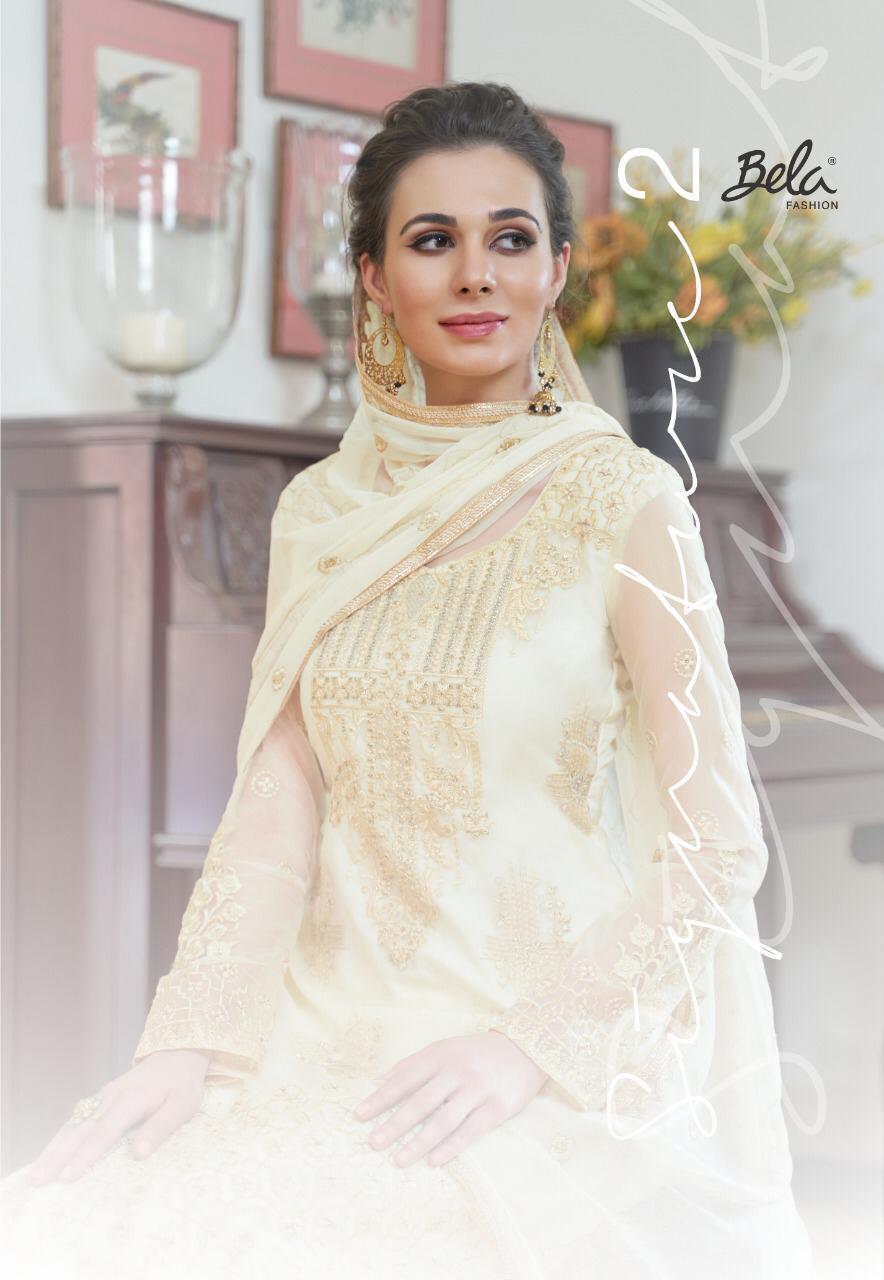 Bela Fashion Signature 2 Designer Organza Embroidery & Diamond Work Wedding Wear Suits