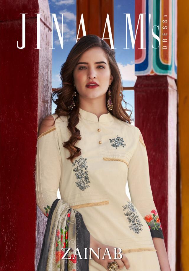 Jinaam's Zainab Designer Cotton Digital Printed & Embroidered Suits Wholesale