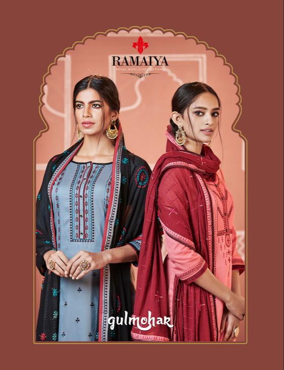 Ramaiya Gulmohar Designer Jam Silk Work & Cotton Suits Wholesale