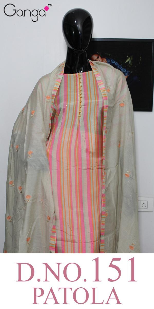 Ganga Patola 151 Designer Muslin Silk Printed Suits Wholesale