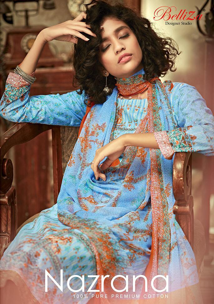 Belliza Designer Studio Nazrana Designer Premium Cotton Printed Suits Wholesale