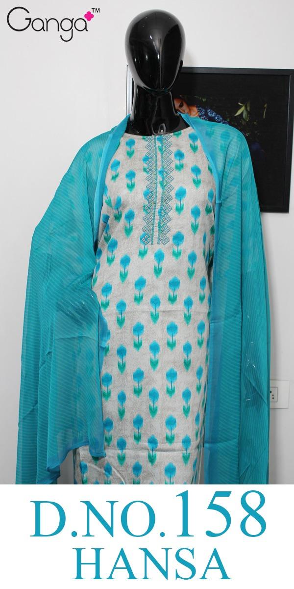Ganga Hansa 158 Designer Silk Satin Printed Suits Wholesale