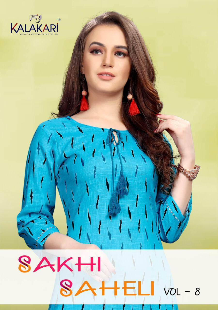 Kalakari Sakhi Saheli Vol 8 Designer Office Wear Kurties Wholesale