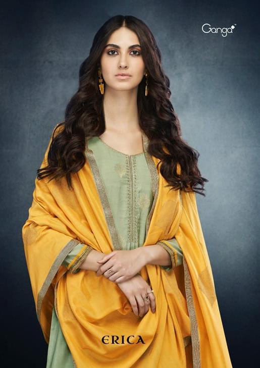 Ganga Erica Designer Banarasi Kora Silk & Embroidered Suits Wholesale