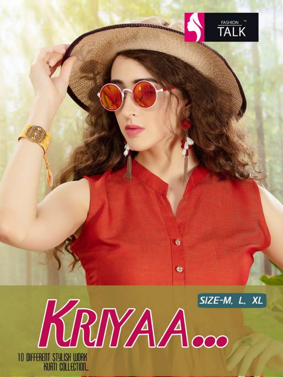 Fashion Talk Kriyaa Designer Heavy Rayon Stitch Western Tops Wholesale