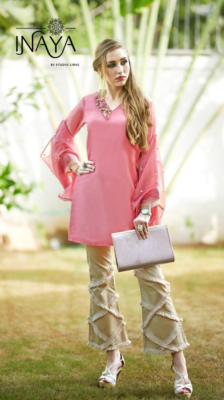 Inaya Lpc - 30 Designer Pure Organza Kurties & Cotton Pants Wholesale